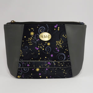 Sunshine Clutch- Vinyl & Cotton/Grey/Beautiful Universe