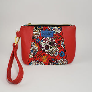 Sunshine Wristlet - Vinyl & Cotton/Red/Sugar Skulls