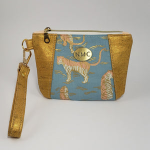Sunshine Wristlet - Cork & Cotton/Shimmering Gold/Tigers