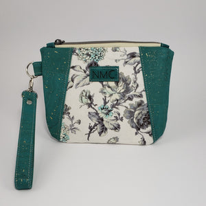 Sunshine Wristlet - Cork & Cotton/Teal with Gold Flecks/Hydrangeas