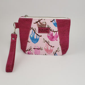 Sunshine Wristlet - Cork & Cotton/Raspberry/Sloths