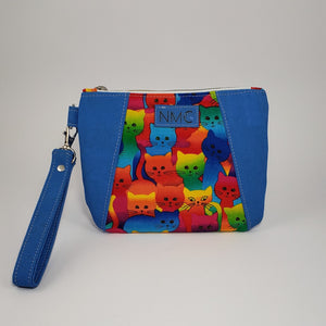 Sunshine Wristlet - Cork & Cotton/Blue/Neon Cats