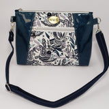 Sunshine Crossbody Bag - Teal Glitter Vinyl/Cotton Partridges