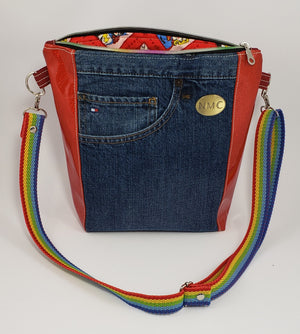 Rhiannon Reclaimed Jeans Crossbody - Red Glitter Vinyl