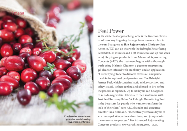 Peel Power feature in American Spa Magazine