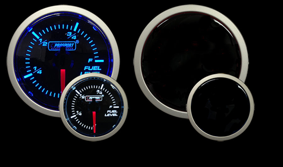 "Blue / White - 2-1/16"" Fuel Level Gauge"