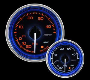 "2-1/16"" Crystal Series Blue/White Electric Boost gauge"
