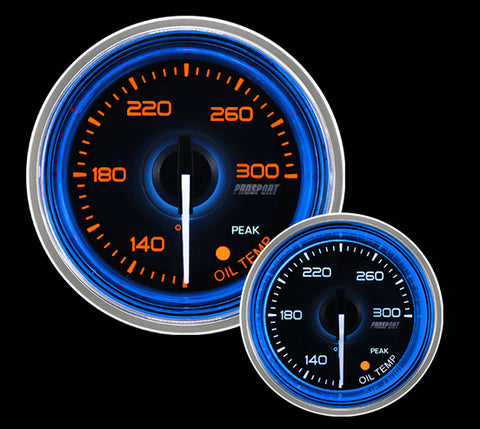 "2-1/16"" Crystal Blue/White Oil Temperature Gauge"