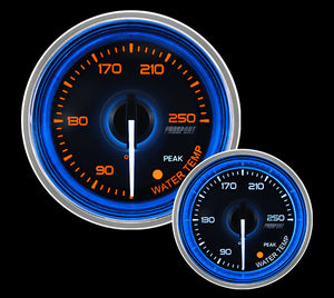 "2-1/16"" Crystal Blue/White Water Temperature Gauge"