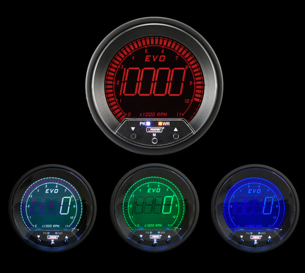 "3-3/8"" Premium EVO Series Tachometer with  Peak/Warning"
