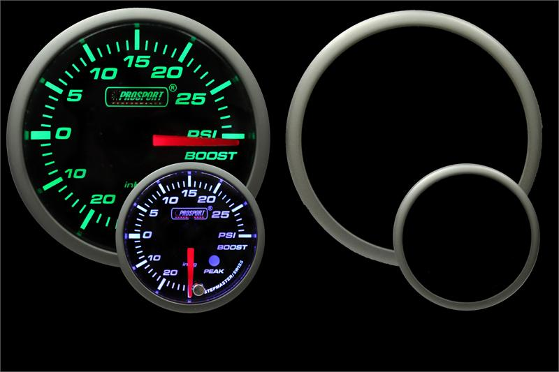 Prosport 52mm Green/White Premium Electric Boost gauge 30psi