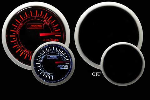 "2-1/16"" Amber / White -  Air Fuel Ratio Gauge"