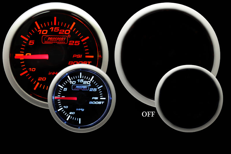 "2-1/16"" Amber / White Mechanical Boost Gauge"