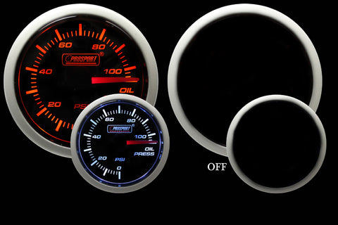 "2-1/16"" Amber / White -  Electrical Oil Pressure Gauge"