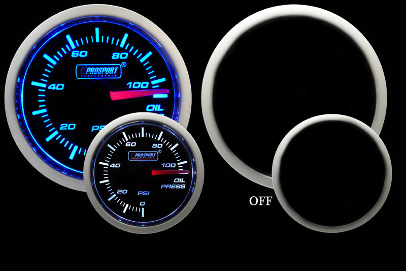 "2-1/16"" Blue/White Oil Pressure Gauge-2-1/16"""