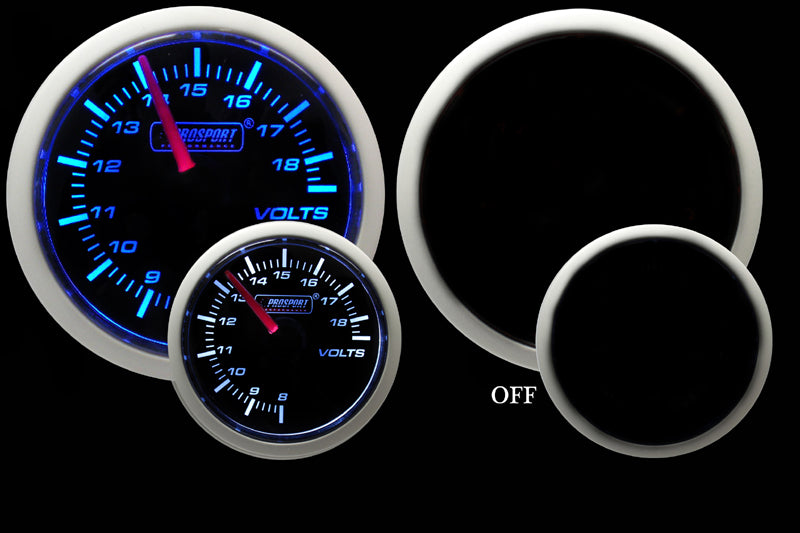 "2-1/16"" Blue/White Volt Gauge"