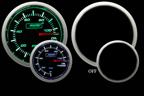 "2-1/16"" Green/White Oil Pressure Gauge"