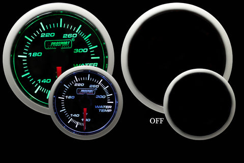 "2-1/16"" Green/White Water Temperature Gauge"