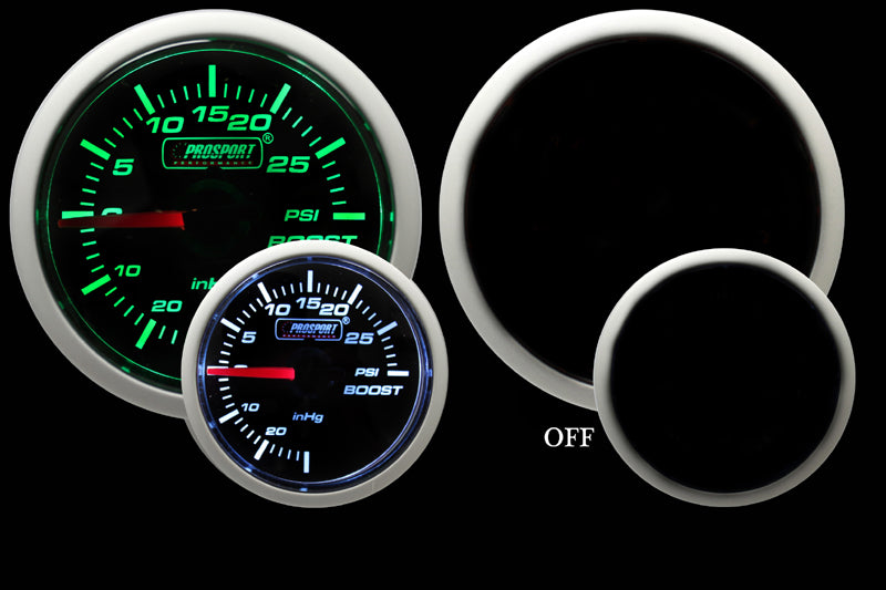 Prosport Green/White Electrical Boost Gauge