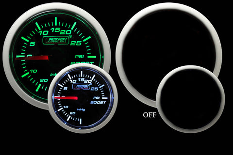 "2-1/16"" Green/White Mechanical Boost Gauge"