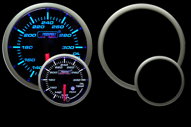 "2-1/16"" Premium Blue/White Oil Temperature Gauge"