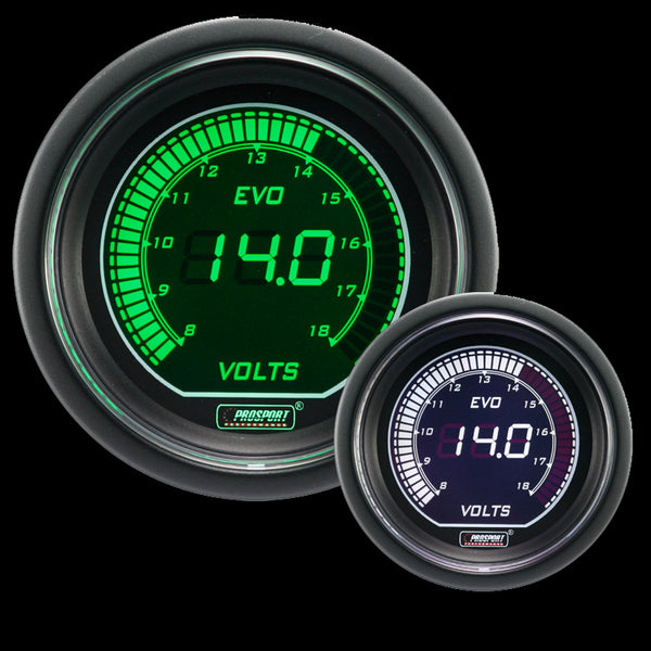 "2-1/16"" Evo Electrical White Green Volt Gauge"