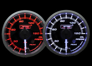 "2-1/16"" Premium White Pointer Clear Lens Amber/White Oil Pressure Gauge"