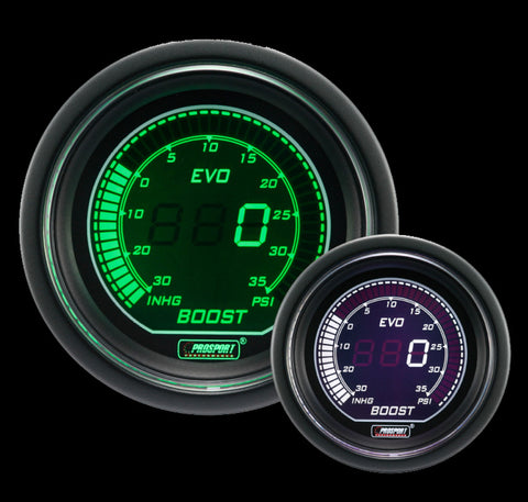 Prosport 52mm Evo Electrical Boost Gauge-Green and White