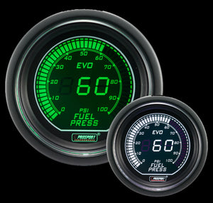 "2-1/16"" Evo Electrical White and Green Fuel Pressure Gauge"