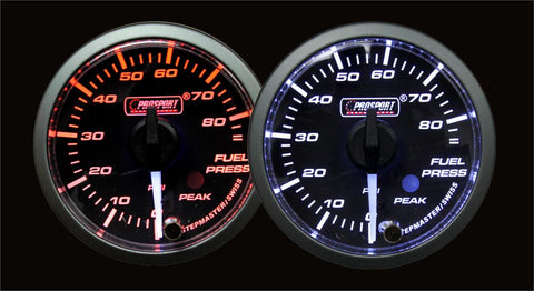 "2-1/16"" Premium White Pointer Clear Lens Amber/White Fuel Pressure Gauge"