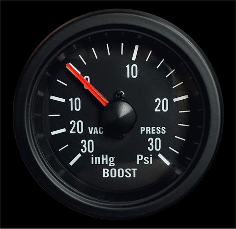 "2-1/16"" Mechanical Boost Gauge Clear Lens White LED"