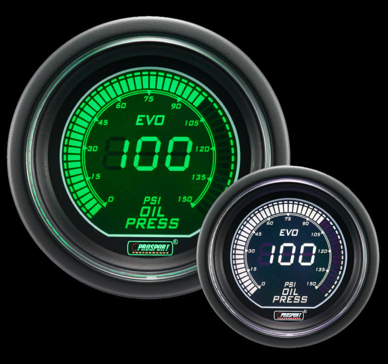 "2-1/16"" Evo Electrical Green/White Oil Pressure Gauge-"