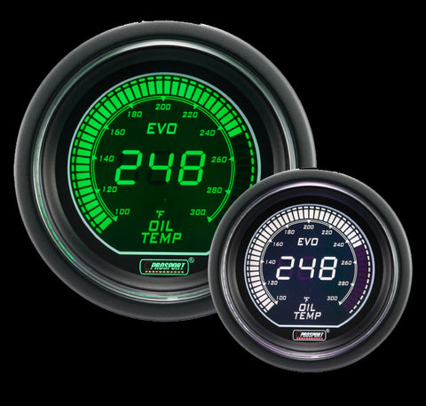 "2-1/16"" Evo Electrical Green and White Oil Temperature Gauge-"