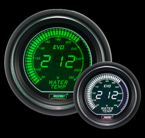 "2-1/16"" Evo Electrical Green and White Water Temperature Gauge-"