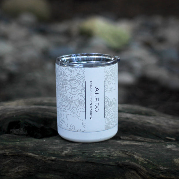 Aledo - Texas Engraved Map Insulated Cup in Matte White 1