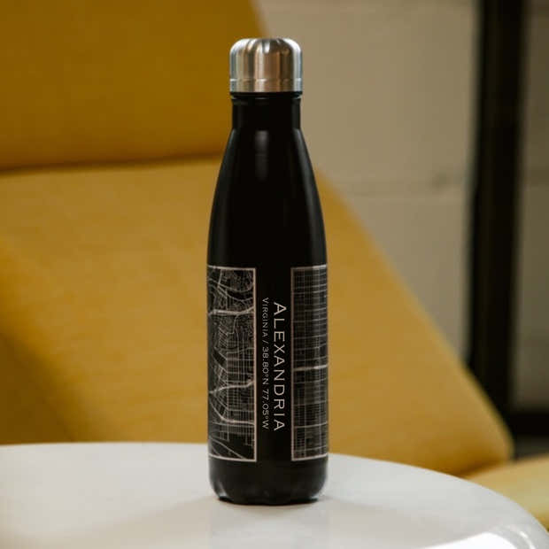 Alexandria - Virginia Engraved Map Insulated Bottle in Matte Black 1