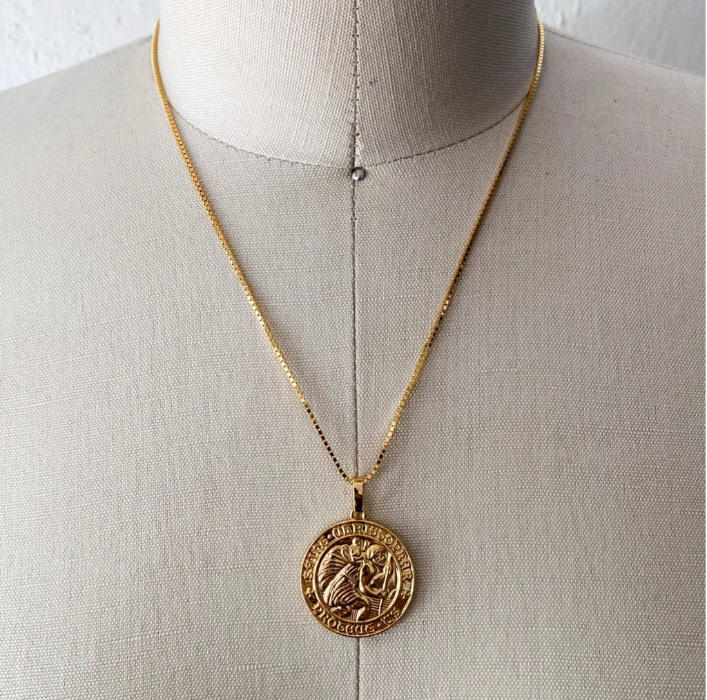 Gold Filled Saint Christopher Protection Coin Necklace
