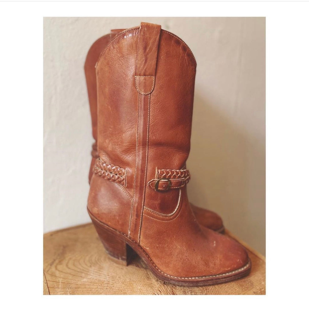Vintage Leather Western Boots Size 6.5