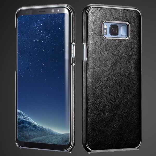 S8 Plus Platinum Black Leather  Electroplating Cover Case