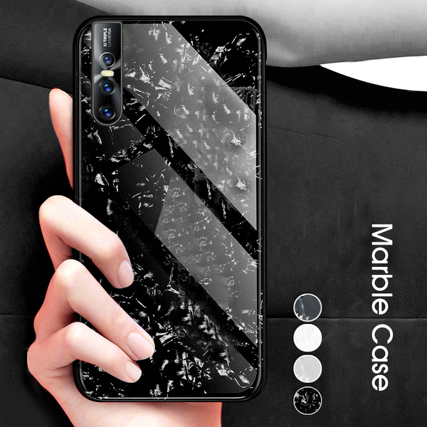 Buy 1 Get 1 FREE: Luxury Marble Pattern Tempered Glass Case for Vivo V15 Pro