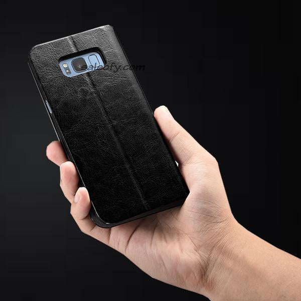 S8 Plus Flip Folio Credit Card Holder Cover Case - Black