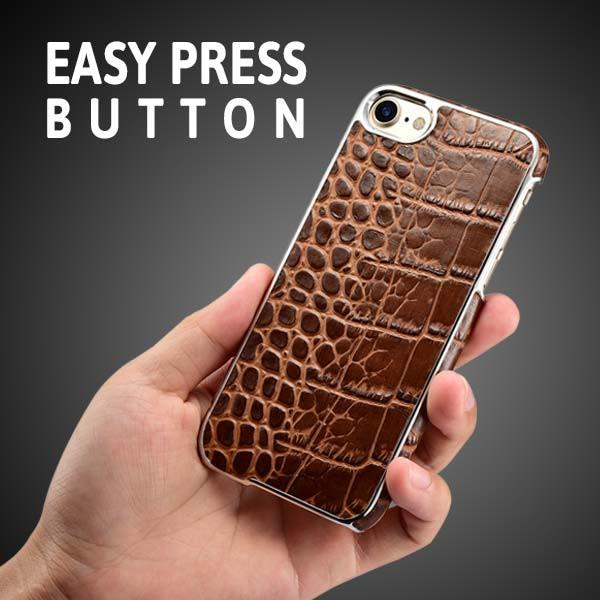 iPhone 7 Electroplating Alligator Embossed Genuine Leather Back Case Cover - Brown
