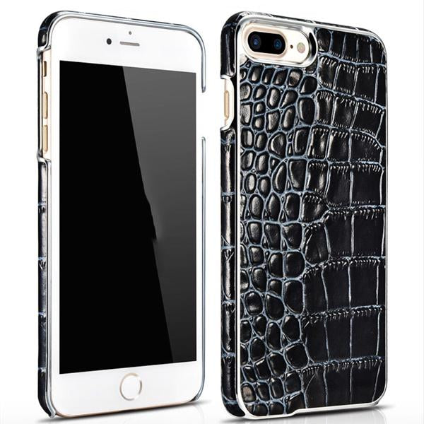 iPhone 7+ Plus Electroplating Alligator Embossed Genuine Back Case Cover - Black