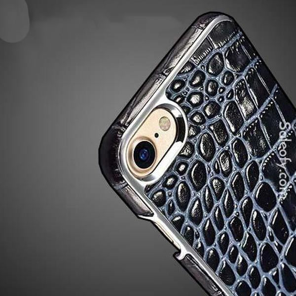 iPhone 8 Electroplating Alligator Embossed Genuine Back Case Cover - Black