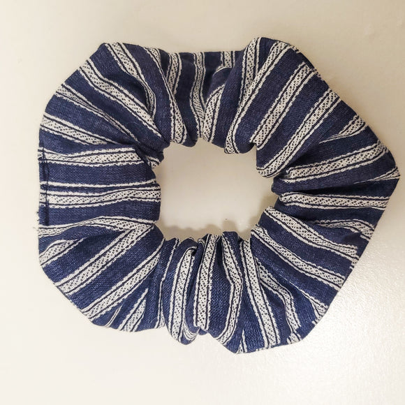 Navy Blue Vintage Striped Scrunchie