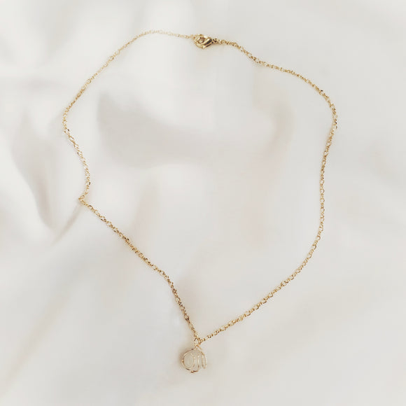 Gold Gemstone Ball Necklace