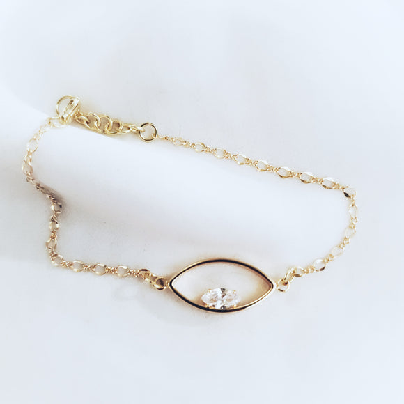 Gold Eye Crystal Bracelet