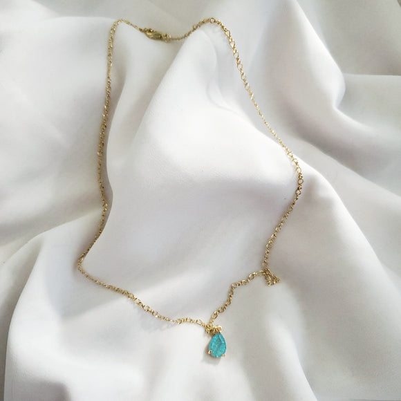 Aqua Teardrop Crystal Gold Necklace