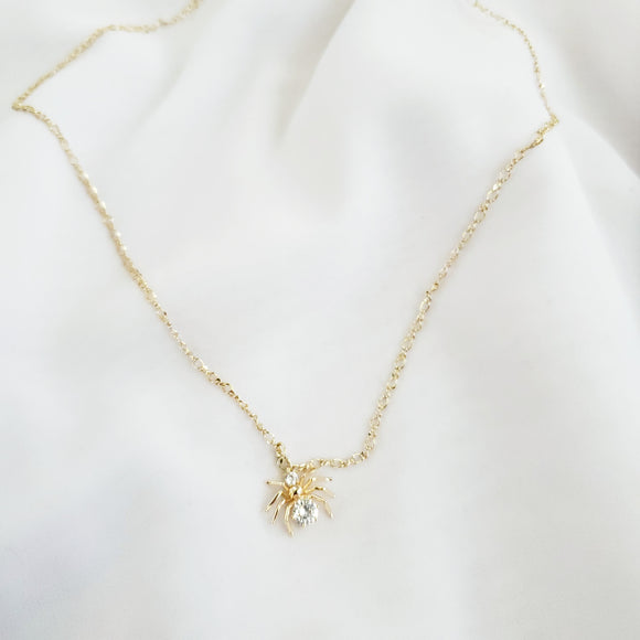 Crystal Spider Gold Necklace