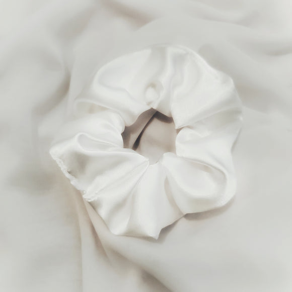 Ivory Satin Scrunchie